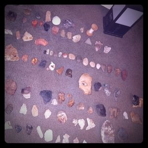Accent native American tools, rock carvings etc